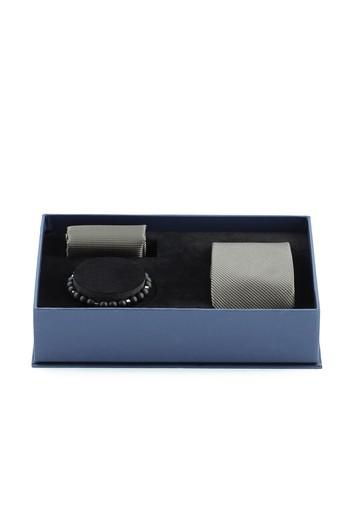 Erkek Giyim - 3'lü Kravat Mendil Bileklik Set
