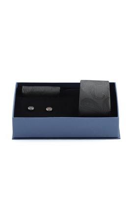 Erkek Giyim - SİYAH  Beden 3'lü Kravat Mendil Kol Düğmesi Seti