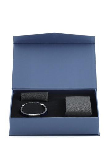 Erkek Giyim - 3'lü Kravat Mendil Deri Bileklik Set