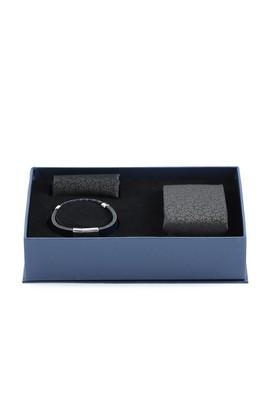 Erkek Giyim - SİYAH  Beden 3'lü Kravat Mendil Deri Bileklik Set
