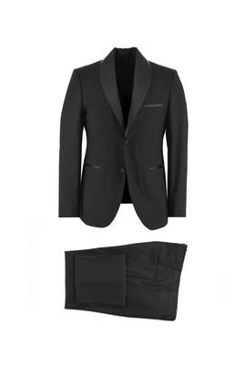 Erkek Giyim - SİYAH 54 Beden Slim Fit Şal Yaka Smokin & Damatlık