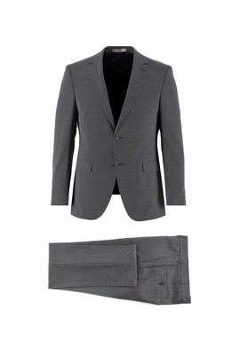 Erkek Giyim - KOYU LACİVERT 52 Beden Desenli Slim Fit Takım Elbise