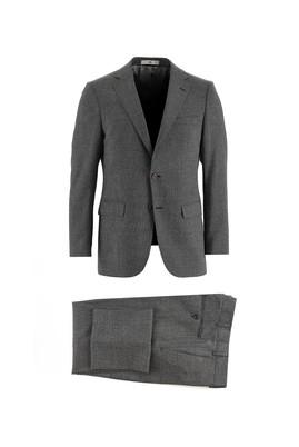 Erkek Giyim - SİYAH 48 Beden Regular Fit Yünlü Kuşgözü Takım Elbise