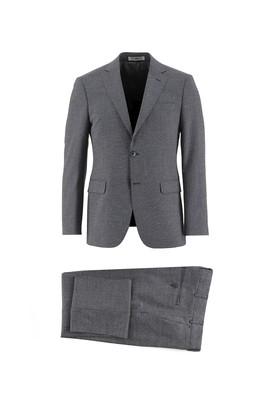 Erkek Giyim - KOYU LACİVERT 48 Beden Slim Fit Yünlü Kuşgözü Takım Elbise
