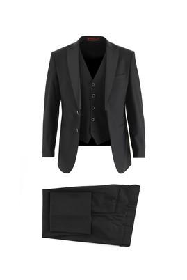Erkek Giyim - SİYAH 46 Beden Slim Fit Sivri Yaka Yelekli Smokin / Damatlık