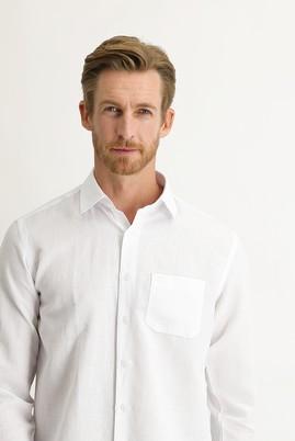 Erkek Giyim - BEYAZ 3X Beden Uzun Kol Keten Relax Fit Gömlek