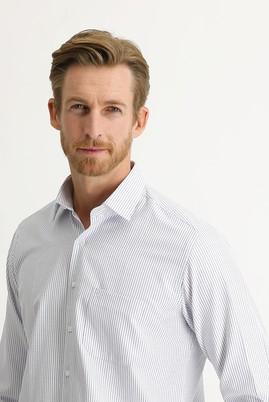 Erkek Giyim - ORTA LACİVERT 3X Beden Uzun Kol Desenli Klasik Gömlek