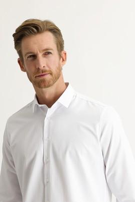 Erkek Giyim - BEYAZ 3X Beden Uzun Kol Desenli Klasik Gömlek