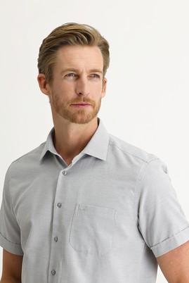 Erkek Giyim - ORTA GRİ 3X Beden Kısa Kol Regular Fit Desenli Gömlek