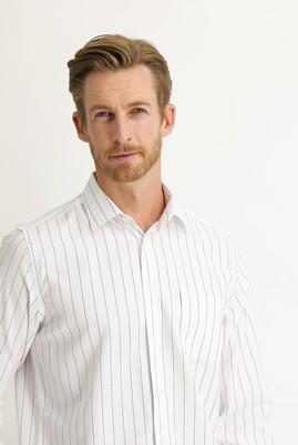 Erkek Giyim - KOYU BORDO M Beden Uzun Kol Regular Fit Çizgili Gömlek