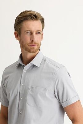 Erkek Giyim - ORTA GRİ M Beden Kısa Kol Regular Fit Desenli Gömlek