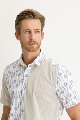 Erkek Giyim - AÇIK KAHVE L Beden Kısa Kol Regular Fit Desenli Gömlek