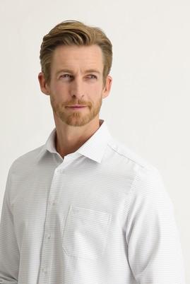 Erkek Giyim - KOYU MAVİ 3X Beden Uzun Kol Desenli Klasik Gömlek