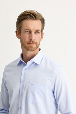 Erkek Giyim - UÇUK MAVİ XL Beden Uzun Kol Desenli Klasik Gömlek