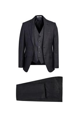 Erkek Giyim - KOYU FÜME 58 Beden Slim Fit Antibakteriyel Kombinli Takım Elbise