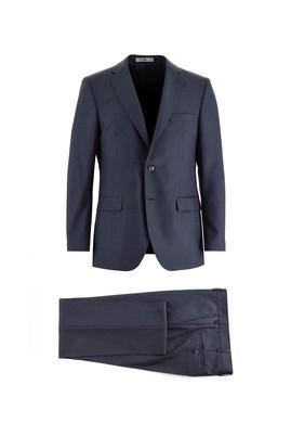 Erkek Giyim - KOYU LACİVERT 50 Beden Regular Fit Kuşgözü Takım Elbise