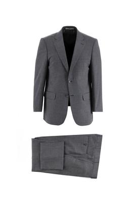 Erkek Giyim - KOYU LACİVERT 50 Beden Regular Fit Yünlü Kuşgözü Takım Elbise