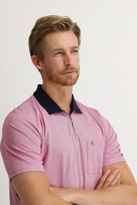 Erkek Giyim - ORTA PEMBE L Beden Polo Yaka Regular Fit Fermuarlı Tişört