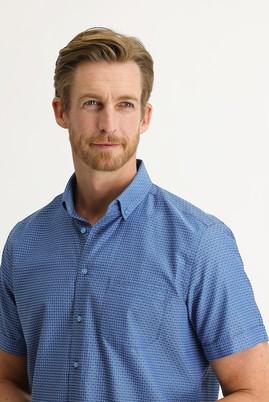 Erkek Giyim - KOYU MAVİ 3X Beden Kısa Kol Regular Fit Desenli Gömlek