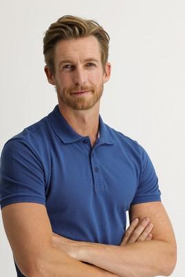 Erkek Giyim - KOYU İNDİGO 3X Beden Polo Yaka Slim Fit Tişört