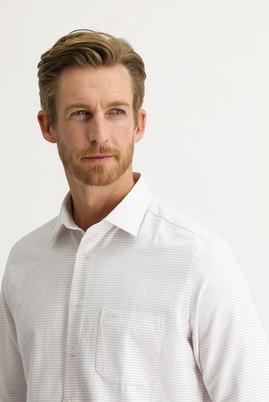Erkek Giyim - KOYU KIRMIZI 3X Beden Uzun Kol Desenli Klasik Gömlek
