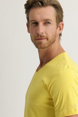 Erkek Giyim - Sarı XL Beden V Yaka Regular Fit Nakışlı Tişört