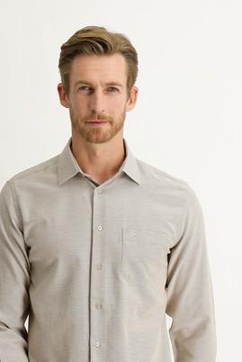 Erkek Giyim - ORTA BEJ XXL Beden Uzun Kol Desenli Klasik Gömlek