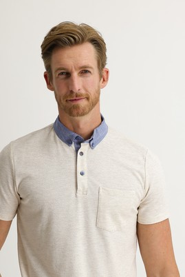 Erkek Giyim - AÇIK BEJ L Beden Polo Yaka Regular Fit Tişört