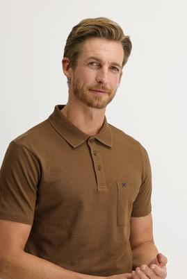 Erkek Giyim - ORTA KAHVE 3X Beden Polo Yaka Regular Fit Tişört