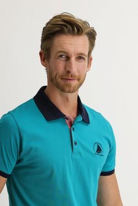 Erkek Giyim - ORTA PETROL XXL Beden Polo Yaka Slim Fit Desenli Tişört