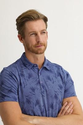 Erkek Giyim - ORTA LACİVERT 3X Beden Polo Yaka Regular Fit Desenli Tişört
