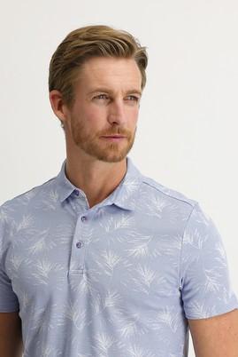Erkek Giyim - SU MAVİSİ 3X Beden Polo Yaka Regular Fit Desenli Tişört