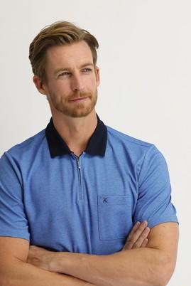 Erkek Giyim - GÖK MAVİSİ XL Beden Polo Yaka Regular Fit Fermuarlı Tişört