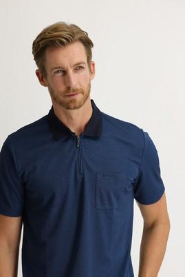Erkek Giyim - KOYU LACİVERT L Beden Polo Yaka Regular Fit Fermuarlı Tişört