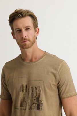 Erkek Giyim - AÇIK CAMEL L Beden Bisiklet Yaka Regular Fit Baskılı Tişört