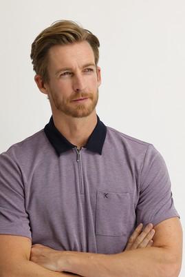 Erkek Giyim - PATLICAN MORU L Beden Polo Yaka Regular Fit Fermuarlı Tişört
