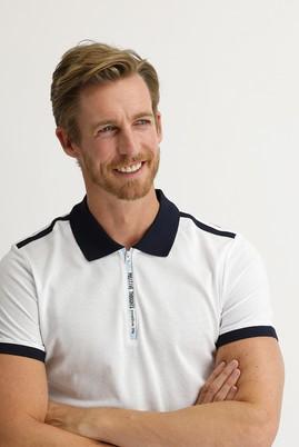 Erkek Giyim - BEYAZ XL Beden Polo Yaka Slim Fit Desenli Tişört