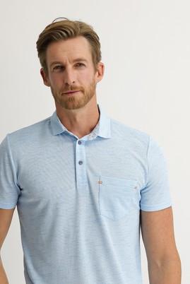 Erkek Giyim - ORTA TURKUAZ L Beden Polo Yaka Regular Fit Tişört