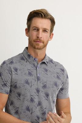 Erkek Giyim - AÇIK LACİVERT XL Beden Polo Yaka Regular Fit Desenli Tişört