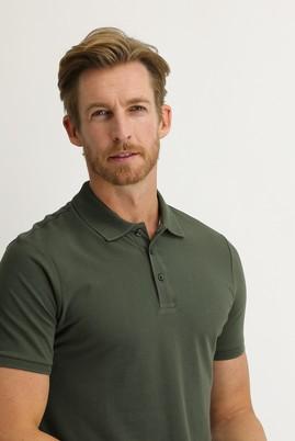 Erkek Giyim - ASKER HAKİ XL Beden Polo Yaka Slim Fit Tişört
