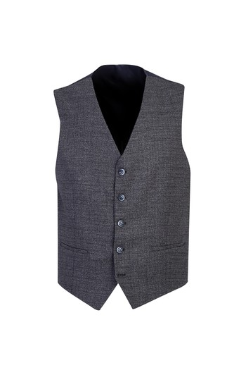 Erkek Giyim - Slim Fit Yelekli Desenli Kombinli Takım Elbise