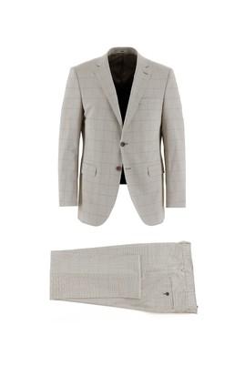 Erkek Giyim - AÇIK CAMEL 54 Beden Regular Fit Desenli Takım Elbise