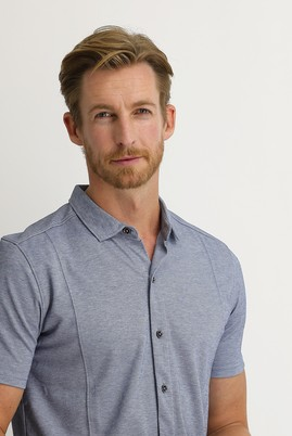 Erkek Giyim - ORTA LACİVERT M Beden Yarım İtalyan Yaka Slim Fit Gömlek Tişört