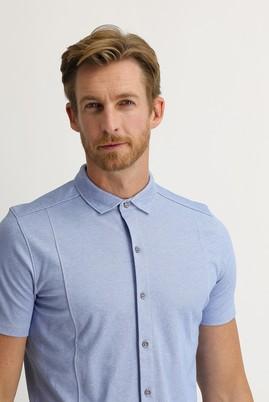 Erkek Giyim - MAVİ S Beden Yarım İtalyan Yaka Slim Fit Gömlek Tişört