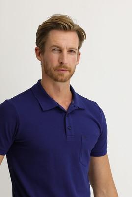 Erkek Giyim - SAKS MAVİ M Beden Polo Yaka Regular Fit Tişört