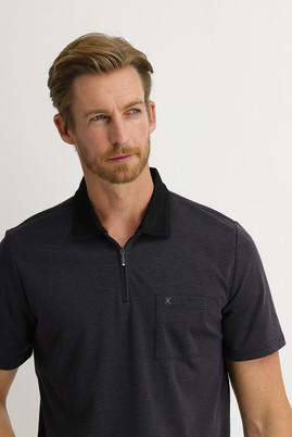 Erkek Giyim - SİYAH XL Beden Polo Yaka Regular Fit Fermuarlı Tişört