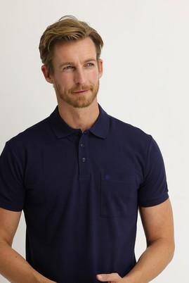 Erkek Giyim - ORTA LACİVERT L Beden Polo Yaka Regular Fit Tişört