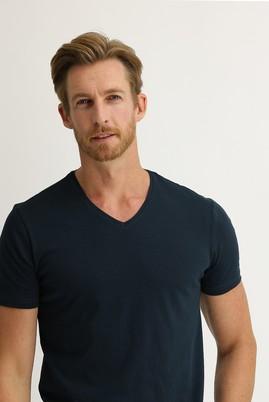 Erkek Giyim - PETROL YEŞİLİ 3X Beden V Yaka Slim Fit Tişört