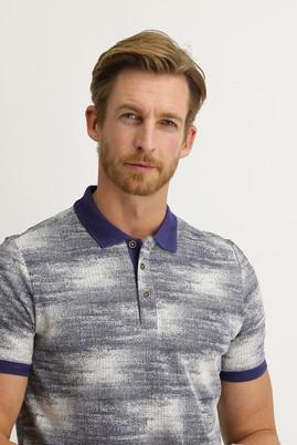 Erkek Giyim - AÇIK LACİVERT 3X Beden Polo Yaka Regular Fit Desenli Tişört