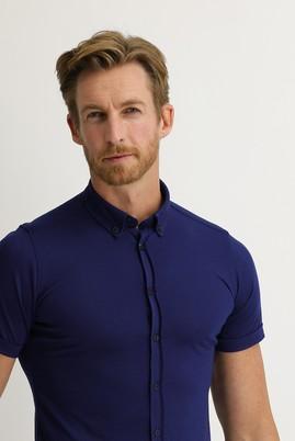 Erkek Giyim - AÇIK LACİVERT S Beden Polo Yaka Gömlek Tişört